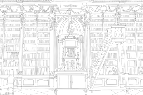 Details of a Baroque library